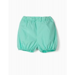 SHORTS WITH BOWS FOR BABY GIRL, GREEN WATER