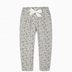 'FLOWERS' GIRL TRACK PANTS, GRAY