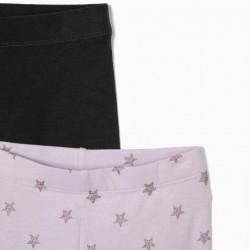 2 'STARS' GIRL LEGGINGS, LILAC/DARK GRAY