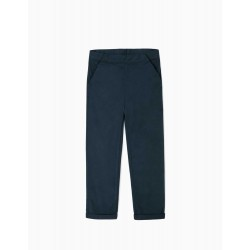 TWILL TROUSERS FOR GIRLS, DARK BLUE