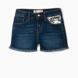 GIRL'S DENIM SHORTS WITH SEQUINS, BLUE