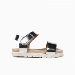 BABY GIRL SANDALS VARNISH WITH VELCRO, SILVER