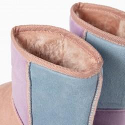 CAMURCINA FUR BOOTS FOR GIRLS, PINK / LILAC / BLUE