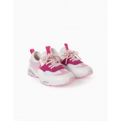COSMIC GIRLS CHUNKY SNEAKERS WITH LIGHTS, WHITE / PINK