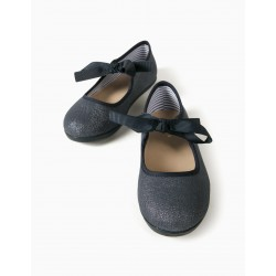SHINY DENIM BALLERINAS FOR GIRLS 'ZY BALLERINA', DARK BLUE