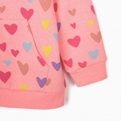 GIRLS 'HEARTS' HOODED COAT, PINK