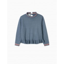KNITTED SWEATER WITH RAISED COLLAR FOR GIRLS, BLUE