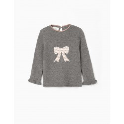 GIRL'S KNITTED SWEATER, 'BOW', GRAY