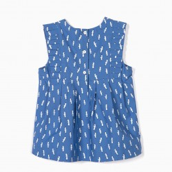 BLOUSE FOR BABY GIRL 'B&S' SEAGULLS, BLUE