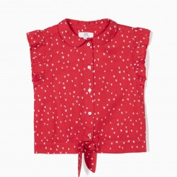 BLOUSE FOR GIRLS 'HEARTS', RED