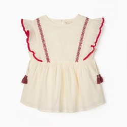 BLOUSE WITH EMBROIDERIES FOR GIRLS, OLD WHITE