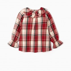 CHECKERED BLOUSE FOR GIRLS 'B&S', RED / WHITE