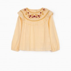 BLOUSE WITH EMBROIDERY FOR GIRL, CREAM