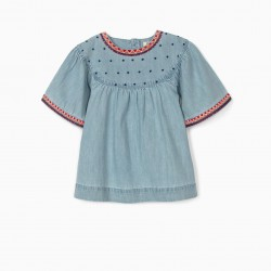 DENIM BLOUSE WITH EMBROIDERY FOR GIRLS, BLUE