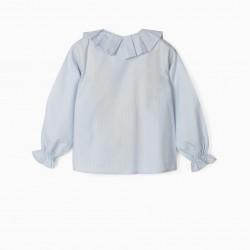 BLOUSE FOR GIRLS 'B&S' STRIPES AND RUFFLES, BLUE