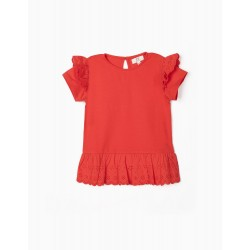 TOP WITH BRODERIE ANGLAISE, FOR GIRLS, RED