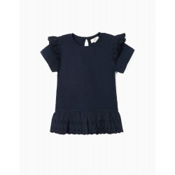 TOP WITH BRODERIE ANGLAISE, FOR GIRLS, DARK BLUE