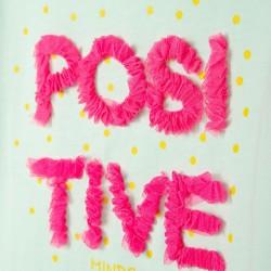 'POSITIVE' GIRL'S T-SHIRT, LIGHT BLUE