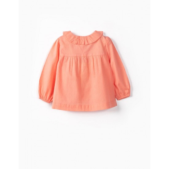 BABY GIRL BLOUSE 'SWISS DOT', CORAL
