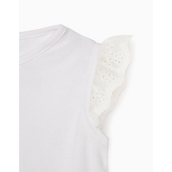 RIBBED T-SHIRT FOR BABY GIRL, WHITE