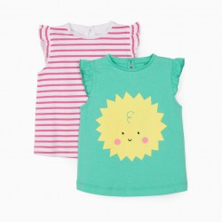 2 T-SHIRTS FOR BABY GIRL 'SUN', WATER GREEN/STRIPES