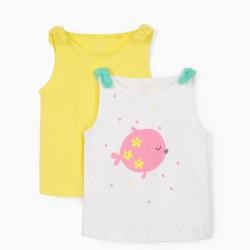 2 BABY GIRL TOPS 'FISH', WHITE/YELLOW