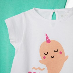 2 BABY GIRL T-SHIRTS 'SWEET NARWHAL', WHITE/GREEN WATER
