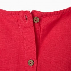 CROPPED LINEN TOP FOR GIRLS, CORAL