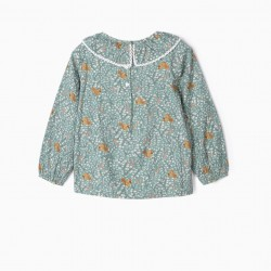 BLOUSE FOR GIRLS 'SQUIRRELS', GREEN