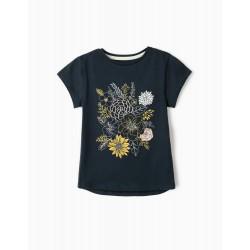'FLOWERS' GIRL T-SHIRT, DARK BLUE