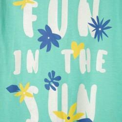 2 'FUN IN THE SUN' GIRL T-SHIRTS, AQUA GREEN/BLUE/WHITE