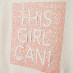 'THIS GIRL CAN!' GIRLS TULLE SWEATSHIRT, WHITE