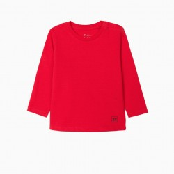 2 LONG SLEEVE T-SHIRTS FOR BABY BOY, WHITE/RED