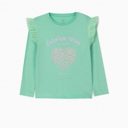 'BE UNIQUE' GIRL'S LONG SLEEVE T-SHIRT, GREEN