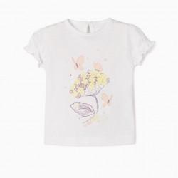 'FLOWERS & BUTTERFLIES' NEWBORN T-SHIRT, WHITE