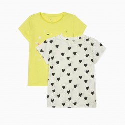 2 T-SHIRTS FOR GIRLS 'PLANETS & HEARTS', LIME YELLOW, WHITE