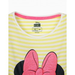 STRIPED T-SHIRT FOR GIRL 'MINNIE', LIME YELLOW / WHITE