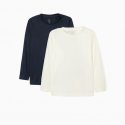 2 LONG SLEEVE T-SHIRTS FOR GIRLS, BLUE / WHITE
