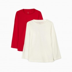 2 LONG SLEEVE T-SHIRTS FOR GIRLS, RED / WHITE