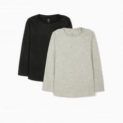 2 LONG SLEEVE T-SHIRTS FOR GIRLS, GRAY / BLACK