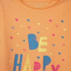 2 T-SHIRTS FOR GIRLS 'BE HAPPY', ORANGE / WHITE / WATER GREEN