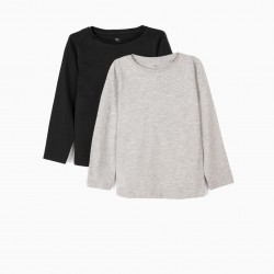 2 LONG SLEEVE T-SHIRTS FOR GIRLS, GRAY / BLACK