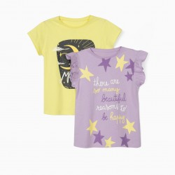2 T-SHIRTS FOR GIRLS 'MOON CHILD', LILAC / YELLOW