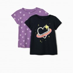 2 T-SHIRTS FOR GIRLS 'HEARTS', LILAC / DARK BLUE