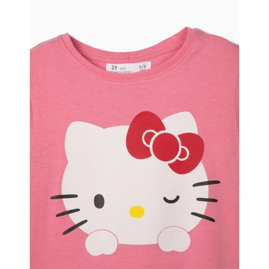 GIRLS 'HELLO KITTY' T-SHIRT WITH BOW ON THE FRONT, PINK