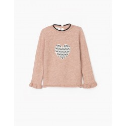 GIRL'S KNITTED SWEATER, 'HEART', PINK