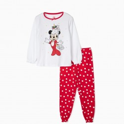 CHRISTMAS MINNIE GIRL PAJAMAS, WHITE / RED