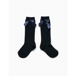 BLUE HIGH SOCKS WITH BOW