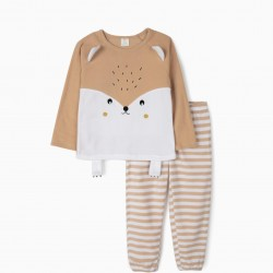 CUTE HEDGEHOG POLAR PAJAMAS FOR GIRLS, BEIGE AND WHITE