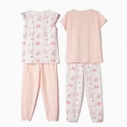 2 GIRLS 'TIARAS & JAMMIES' SHORT SLEEVE PAJAMAS, WHITE AND PINK